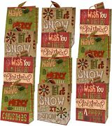 Christmas Large Gift Bags 12 Pack Quilted And Stitched Series