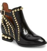 Jeffrey Campbell Rylance Black Box Gold Studded Cut Out Buckle Ankle Bootie
