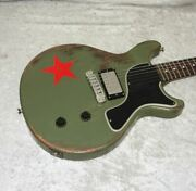 New Rock N Roll Relics Thunders Dc Guitar In Army Green/red Star