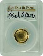 2014-w Pcgs Pr70dcam Baseball Hall Of Fame Autographed Hank Aaron 5 Gold Fs