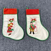 Vintage House Of Hatten Embroidered Applique Christmas Stockings Lot Of 2