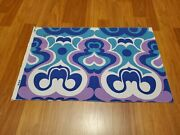 Awesome Rare Vintage Mid Century Retro 70s 60s Turq Violet Wht Abstract Fabric