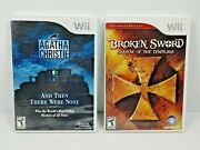 Agatha Christie And Then There Were None And Broken Sword Nintendo Wii Lot Tested