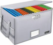 Fireproof Box With Lock, File Box Storage Organizer With Silver
