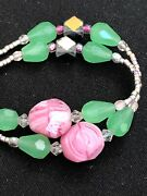 Vintage Art Glass Beaded Pendant Crystal Beaded Necklace 925 Sterling Silver