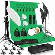 Photography Lighting Kit 8.5 X 10ft Backdrop Support System And Led Softbox