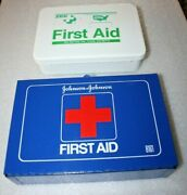Vintage Johnson And Johnson And Zee Wall Mount First Aid Kits Metal Boxes  Pp139