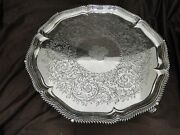 Elkington Silver Plated Charger Engraved Large Cast Feet England 1870 Victorian