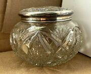 Victorian Wendell Sterling Silver Repousse Cut Crystal Powder / Sewing Jar