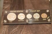Complete 1964 Us Silver 5 Coin Mint Proof Set - Black Capital Holder 90 Silver