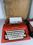 Olivetti College [lettera 25] Red Typewriter 1975 With Box And Carry Case Euc