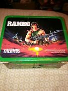 Rambo Metal Lunch Box Thermos Lunchbox With Thermos 1985