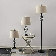 Maxax Lamp Set 3-piece, Table Lamps And Floor Lamp 3 Pack, Vintage Style Metal