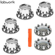 33mm Lug Front And Rear Complete Chrome Hub Cover Semi Truck Wheel Kit Axle Cover