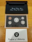 1997-s Us Mint Silver Proof Set Gem Coins W/ Box And Coa Free Shipping