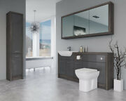 Bathroom Fitted Furniture 1700mm Dark Grey Gloss / Mali Wenge D1 With Wall And Tal