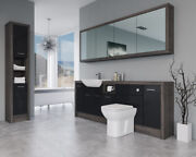 Bathroom Fitted Furniture 2200mm Black Gloss / Mali Wenge D2 With Wall And Tall Un