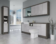 Bathroom Fitted Furniture 2200mm Light Grey Gloss / Mali Wenge D4 With Wall And Ta