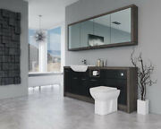 Bathroom Fitted Furniture 2000mm Black Gloss / Mali Wenge D1 With Wall Unit - Ba