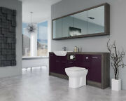 Bathroom Fitted Furniture 2100mm Aubergine Gloss / Mali Wenge D1 With Wall Unit