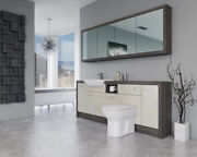 Bathroom Fitted Furniture 2100mm Cream Gloss / Mali Wenge D1 With Wall Unit - Ba