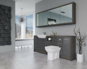 Bathroom Fitted Furniture 2100mm Dark Grey Gloss / Mali Wenge D1 With Wall Unit