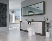 Bathroom Fitted Furniture 2100mm Light Grey Gloss / Mali Wenge D1 With Wall Unit