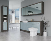 Bathroom Fitted Furniture 2000mm Duck Egg Blue Gloss / Mali Wenge D6 With Wall And
