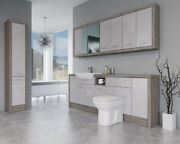 Bathroom Fitted Furniture 2200mm Light Grey Gloss / Driftwood D3 With Wall And Tal