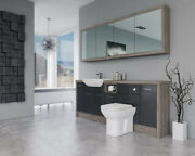 Bathroom Fitted Furniture 2100mm Anthracite Gloss / Driftwood D1 With Wall Unit