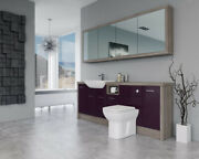 Bathroom Fitted Furniture 2100mm Aubergine Gloss / Driftwood D1 With Wall Unit -