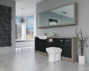 Bathroom Fitted Furniture 2100mm Black Gloss / Driftwood D1 With Wall Unit - Bat