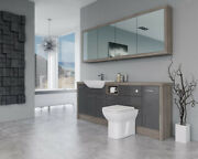 Bathroom Fitted Furniture 2100mm Dark Grey Gloss / Driftwood D1 With Wall Unit -