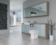 Bathroom Fitted Furniture 2100mm Duck Egg Blue Gloss / Driftwood D1 With Wall Un