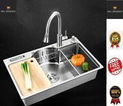 Multi Kitchen Sink Bowl Single Stainless Steel Above Counter/under Mount Brushed
