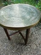 Antique Engraved Round Brass Table Wooden Folding Base Fluted Legs Circa 1910