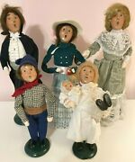 Vintage Byers Choice Carolers Lot Of 6 Marie Baby Man Woman Rooster 1993-999