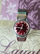 Vintage Silver Color Timex Purple Dial Man Hand-wind Watch