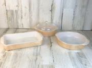 Lot Of Vintage Fire King Iridescent Peach Luster Baking Dishes Casserole