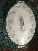 Antique China Covered Vegetable Tureen W/all Over Roses Rare Markings On Bottom