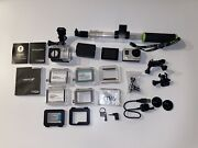 Gopro Hero 3+ Silver And Black Session Mount And Waterproof Casing And Accessories