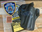 Vintage 1990s Desantis Leather Holster For Nypd 4 Ruger Gp100 Spurless Gpny