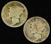 Pair Of 1916-s And 1917-d Mercury Dimes - Free Shipping Usa