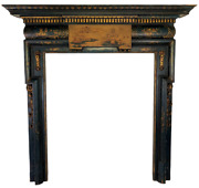 Antique English Georgian Chinoiserie Lacquered Carved Gilt Wood Fireplace Mantel