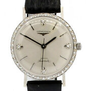 Vintage Longines Admiral14k White Gold Diamond Dial Automatic Watch