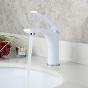 White Bathroom Basin Sink Single Handle/hole Faucet Mixer Tap Deck Mounted