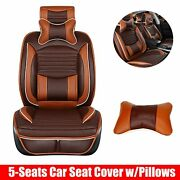 Suv Car Seat Cover Cushions Front+rear 5-seats Full Set Deluxe Pu Leather Brown
