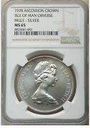 Er099 1978 Crown Silver Ascension Island, Isle Of Man Mule Ngc Ms65
