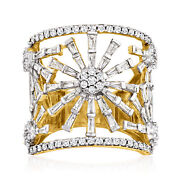 Baguette And Round Diamond Openwork Flower Ring In 18kt Gold Over Sterling
