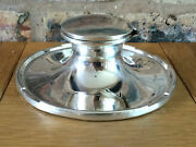 Superb Antique 1911 Silver Edwardian Art Nouveau Capstan Inkwell And Glass Liner